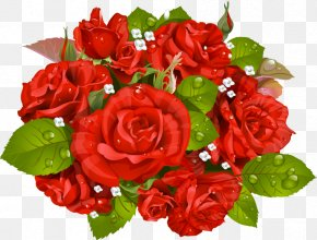 Bouquet Of Red Roses With Water Droplets - Rose Flower Bouquet Stock Photography Clip Art PNG