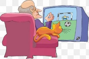 Foreign Old Man Watches TV - Television Cartoon Clip Art PNG