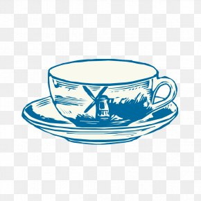 Hand-painted Vintage Glass Pattern - Coffee Cup Clip Art PNG