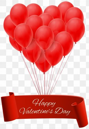 Valentine's Day Balloons - Happy Valentine's Day Banner With Balloons PNG