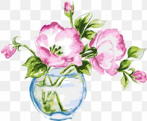 Hand-painted Water Lilies - Vase Of Flowers Watercolor Painting Stock Illustration PNG