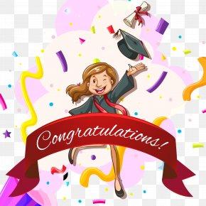 Cartoon Hand-painted Congratulations Graduation Card - Euclidean Vector Graduation Ceremony Web Template PNG
