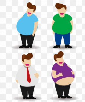 Vector Cartoon Fat Man Belly Paunch - Fat Male Illustration PNG