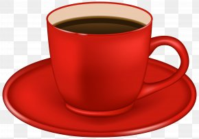 Red Coffee Cup Clipart Image - Single-origin Coffee Espresso Tea Cafe PNG