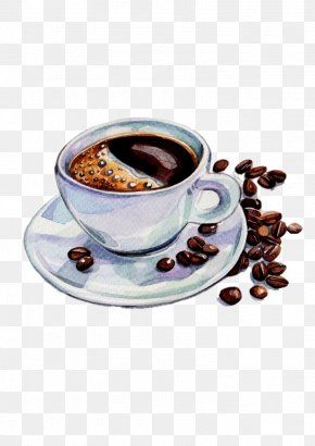 Coffee And Coffee Beans - Coffee Tea Espresso Cafe Watercolor Painting PNG