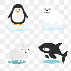 Vector Polar Animals - Polar Bear Penguin Arctic Cartoon PNG