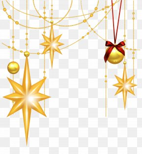 Transparent Christmas Gold Stars And Ornament Clipart - Star Of Bethlehem Christmas Clip Art PNG