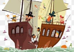 Pirate Ship Sailing - Cartoon Piracy Illustrator Behance Illustration PNG