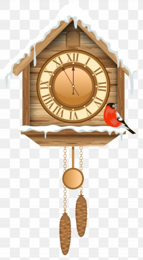 Christmas Cuckoo Clock With Snow Clipart - Cuckoo Clock Pendulum Clock Clip Art PNG
