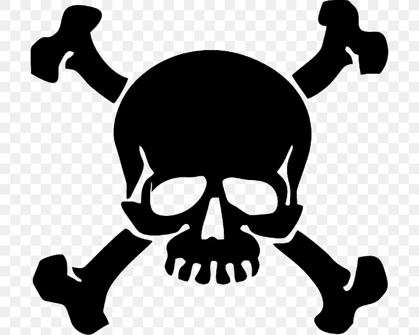 Skull And Bones Skull And Crossbones Decal Human Skull Symbolism, PNG, 700x655px, Skull And Bones, Black And White, Bone, Death, Decal Download Free