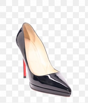 A Shiny Black High-heeled Shoes - Shoe High-heeled Footwear France PNG