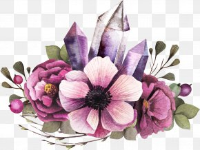 Purple Flower Clusters And Irregular Graphs - Floral Design Flower Watercolor Painting Clip Art PNG