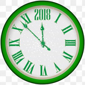 2018 New Year Green Clock Tree Clip Art - New Year Clock Clip Art PNG