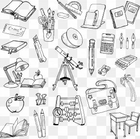 Cartoon Artwork Painted School Supplies - Stationery Pen PNG