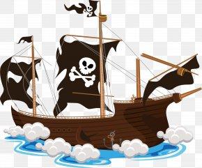 Vector Cartoon Skull Ship - Piracy Clip Art PNG