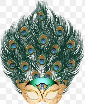 Peacock Feather Mask - Mask Carnival Of Venice Feather Mardi Gras Masquerade Ball PNG