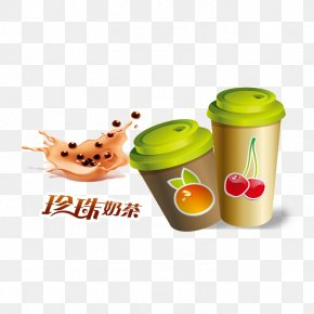 Lovely Hand-painted Milk Cup Button Free Material - Milk Tea Bubble Tea Cup PNG