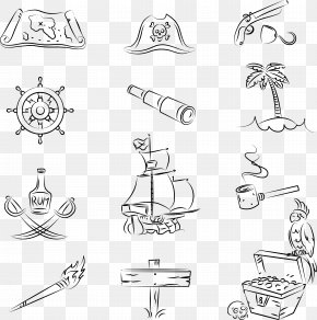 Vector Decorative Pirate Stick Figure - Piracy Treasure Map Jolly Roger Illustration PNG