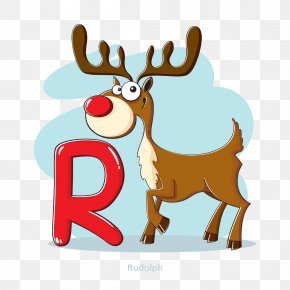 Elk And The Letter R - Rudolph Santa Claus Deer Christmas PNG