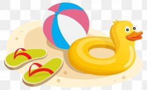Duck Swim Ring Ball And Flipflops Clipart Image - Flip-flops Swim Ring Clip Art PNG