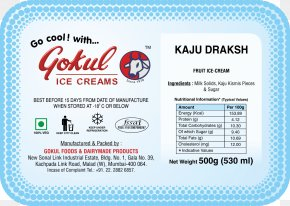Kaju Kismis - Gokul Ice Creams Milk Nutrition Facts Label Food PNG