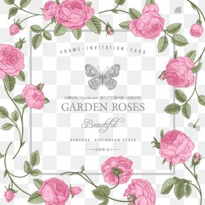 Vintage Rose Decorative Borders - Wedding Invitation Birthday Cake Wish Greeting Card PNG