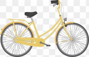 Yellow Lady Bike - Animation Bicycle Graphic Design Tutorial Illustration PNG