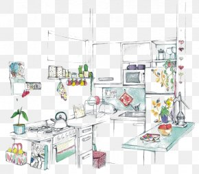 Cartoon Kitchen - Kitchen Room Drawing Interior Design Services PNG