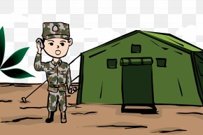 Military Training, Summer Camp, Scenery - Cartoon Military Camp Camping PNG