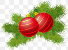 Painted Red Stripes Ball Matsuba - Christmas Ornament Red Green PNG