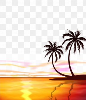 Vector Cartoon Material Sunrise At Sea - Sunset Sunrise Arecaceae Euclidean Vector PNG