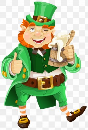 St Patricks Day Leprechaun With Beer Transparent PNG Clip Art Image - Beer Saint Patrick's Day Leprechaun Clip Art PNG