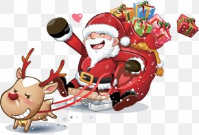 Procces Watercolor - Santa Claus Christmas Day Gift Christmas Card New Year PNG