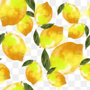 Watercolor Lemon Shading - Lemon Watercolor Painting Yellow PNG