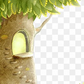 Hand-painted Tree House - Tree House Wall Wallpaper PNG