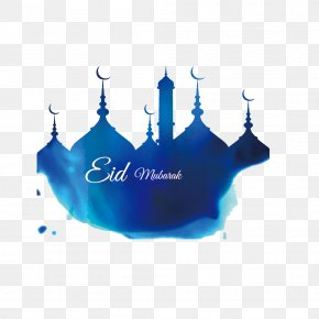 Blue Building Corban Watercolor - Ramadan Eid Mubarak Mosque Illustration PNG