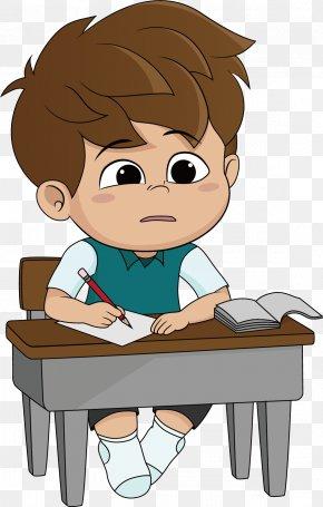 Thinking - Cartoon Homework Illustration PNG