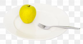 Apple And Fork On Plate - Fork Spoon Tableware Material PNG