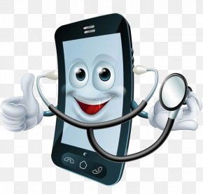 A Cell Phone With A Stethoscope - Cartoon Stock Photography Cell Phone Doctor Illustration PNG