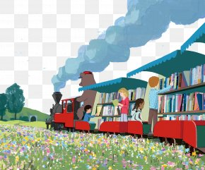 Library Train - Train Book Illustration Library Illustration PNG