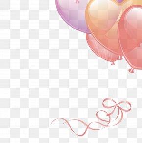 Balloon Flying Ribbon Element - Circle Pink Wallpaper PNG