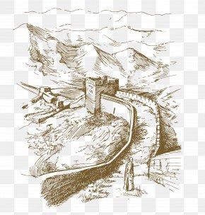 Hand Drawn Vector Corner Of Great Wall Of China - Great Wall Of China Illustration PNG