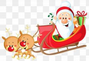 Cute Santa With Sleigh - Santa Claus's Reindeer Sled PNG