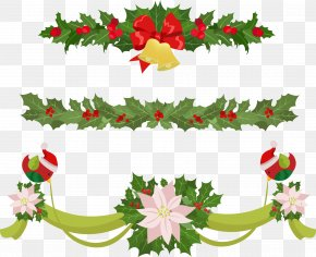 Christmas Bow Decoration - Garland Christmas Euclidean Vector Clip Art PNG