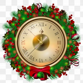 Transparent Christmas Clock Clipartt - Christmas Eve Clock Santa Claus Clip Art PNG