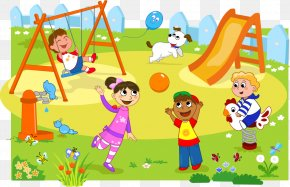 Vector Illustration Children Playing Cute Creative - Park Playground Child Clip Art PNG