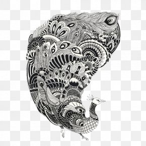 Black And White Decorative Painting Peacock - Black And White Drawing Line Art PNG