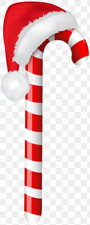 Candy Cane With Santa Hat Clip Art Image - Candy Cane Santa Claus Christmas Clip Art PNG