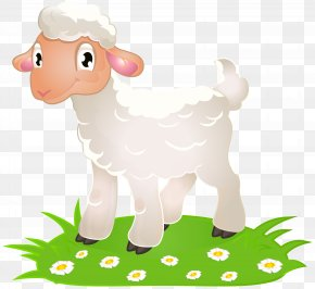 Easter Lamb With Grass Clip Art Image - Sheep Lamb And Mutton Clip Art PNG
