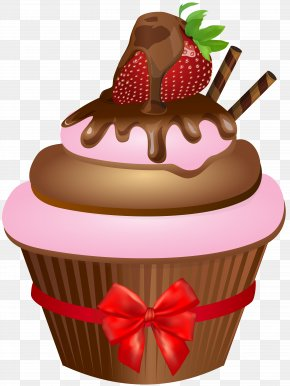 Chocolate Muffin With Strawberry Clip Art Image - Ice Cream Sundae Cupcake Muffin Chocolate Cake PNG